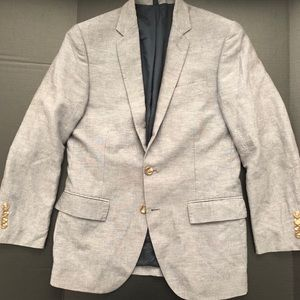 Thompson LINEN Suit 38S Gray 33Wx30 Dbl Vent FFron